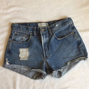 Abercrombie & Fitch Distressed High Waisted Shorts